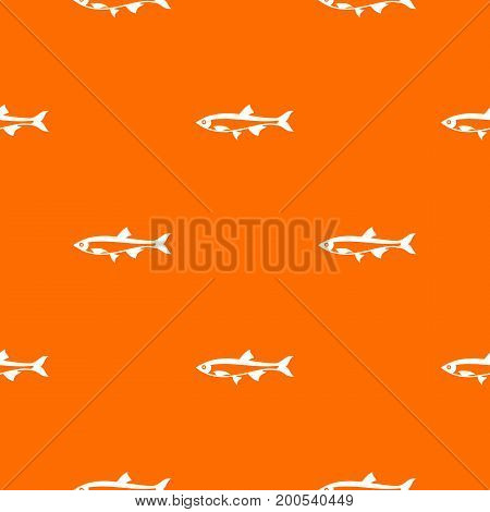 Herring fish pattern repeat seamless in orange color for any design. Vector geometric illustration