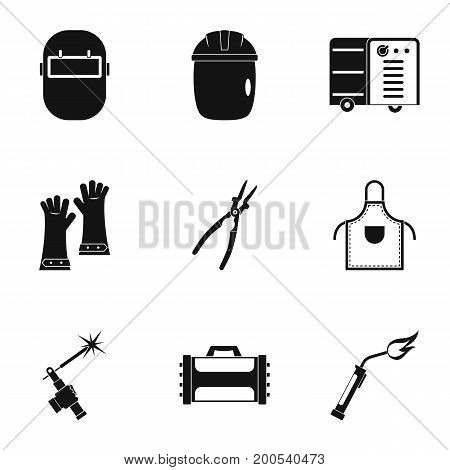 Welder equipment icon set. Simple set of 9 welder equipment vector icons for web isolated on white background