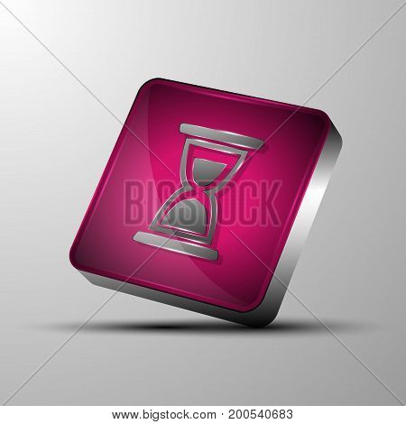 The vector 3d button with sand glass symbol