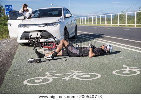 Accident car crash bicycle on bike lane.injuriousdamage