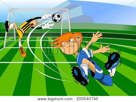 image of a young man playing football vector-illustration