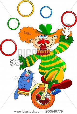 Funny clown and cat on a white background vector illustration