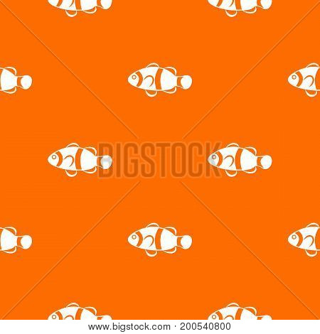 Cute clown fish pattern repeat seamless in orange color for any design. Vector geometric illustration