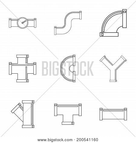 Water connector icon set. Outline set of 9 water connector vector icons for web isolated on white background