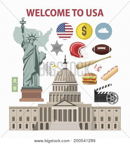 Welcome to USA travel poster of America famous tourist landmarks and attractions. New York Liberty Statue, American flag on Capitol or Hollywood, dollar or fast food, rugby and baseball vector icons