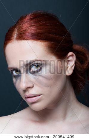 Redhead Female With Dirty Makeup