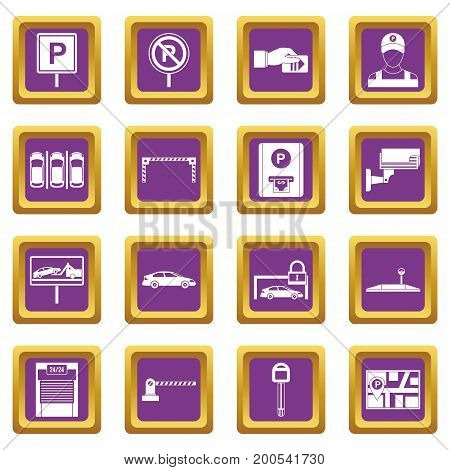 Car parking icons set in purple color isolated vector illustration for web and any design