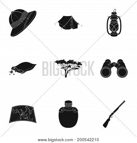Rifle, mask, map of the territory, diamonds and other equipment. African safari set collection icons in black style vector symbol stock illustration .