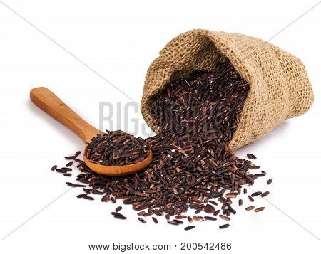closeup details of Thai rice berry, rice berry is a cross-bred unmilled rice possessing dark violet grain and Thai Hom Mali Rice poster