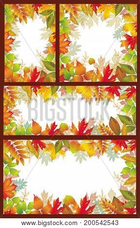 Set of vector Seasonal banner of autumnal leaves