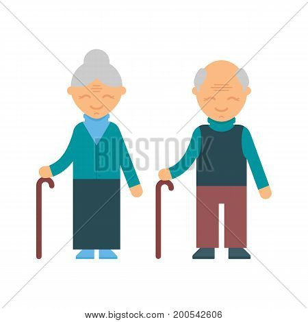 Old people female and male character, vector illustration