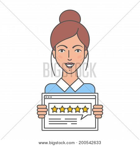 Vector illustration of woman giving five star rating