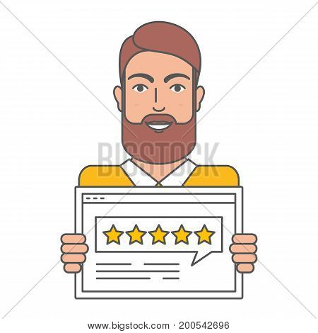 Vector illustration of man giving five star rating