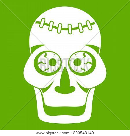 Skull icon white isolated on green background. Vector illustration