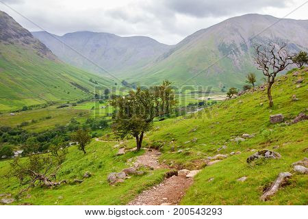 Views on the path to Scafell pike, the highest mountain in England, Lake District National Park, England, selective focus