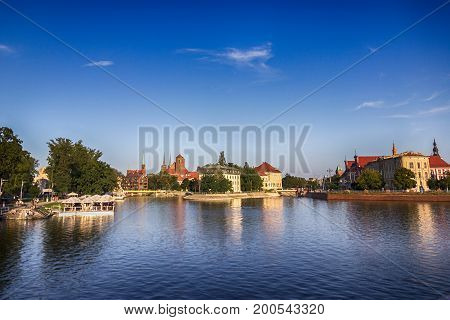 Ostrow Tumski. Cathedral Island and the Odra river. Wroclaw city, Poland, 2017