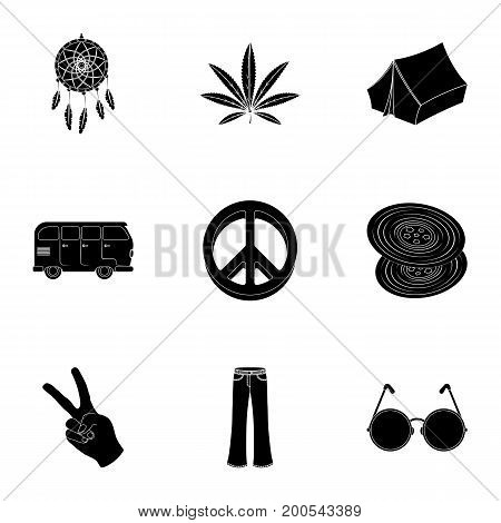 Bird, hemp, leaf and other hippy equipment. Hippy set collection icons in black style vector symbol stock illustration.
