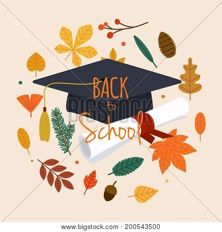 Back to school illustration with graduation cap diploma and autumn leafs on the background. Flat design modern vector illustration concept.
