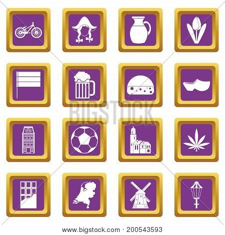 Netherlands icons set in purple color isolated vector illustration for web and any design