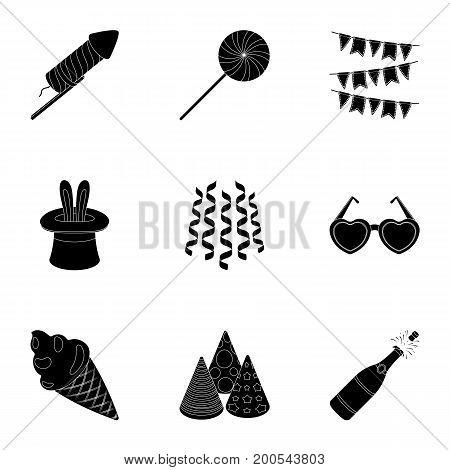 Champagne, firecrackers, cake items for the holiday.Party And Parties set collection icons in black style vector symbol stock illustration .