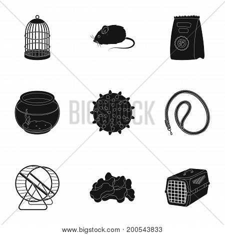 Collar, pet food and other products. Pet shop set collection icons in black style vector symbol stock illustration .