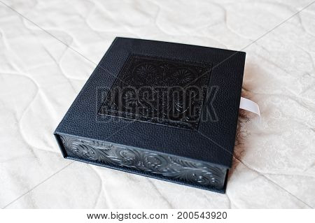 Gorgeous Black Leather Box With Wedding Photobook Or Photo Album In It.