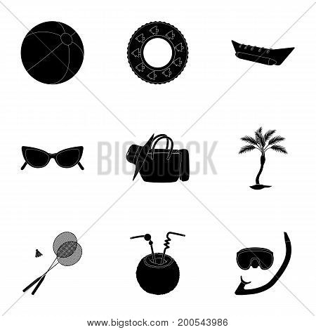Chaise longue, ice cream, glasses items for summer holidays.Summer rest set collection icons in black style vector symbol stock illustration .