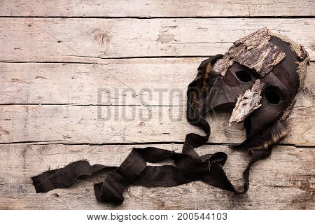 Mask On Wooden Background, Costume And Masquerade For Theatre