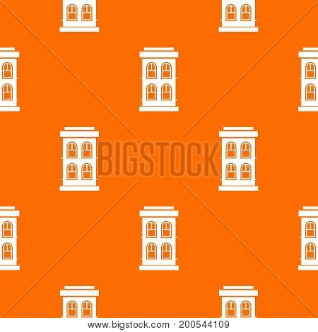 Two-storey house with large windows pattern repeat seamless in orange color for any design. Vector geometric illustration