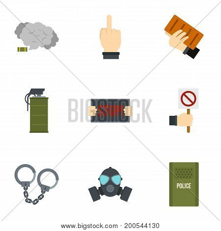 Revolution icon set. Flat set of 9 revolution vector icons for web isolated on white background
