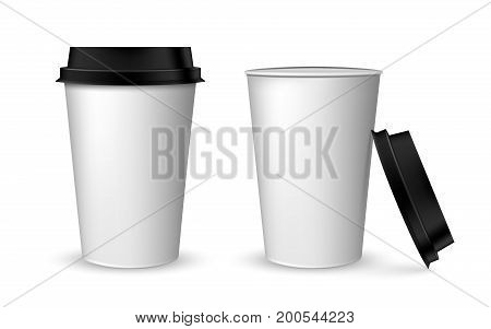 Blank realistic coffee cup mockup. Realistic paper coffee cup set. Paper cups isolated on white. Plastic coffee cup templates over white background