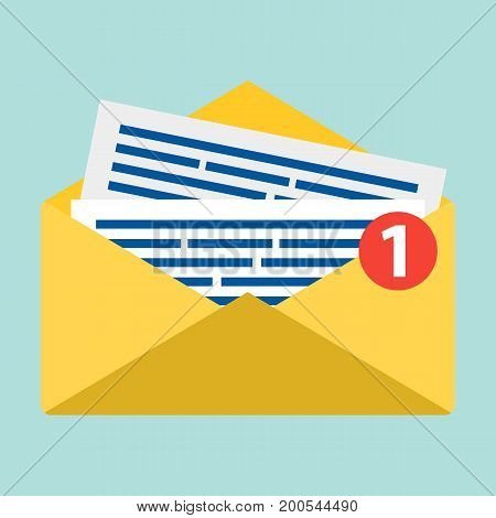 Concept of email notification icon. Letter in yellow cover. Flat design, vector illustration. E-mail symbol on blue background, clean. Message flat icon. Email message concept. New, incoming message