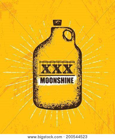 Moonshine Jug Pure Original Corn Spirit Creative Artisan Illustration. Raw Homemade Alcohol Creative Sign On Rough Distressed Background.
