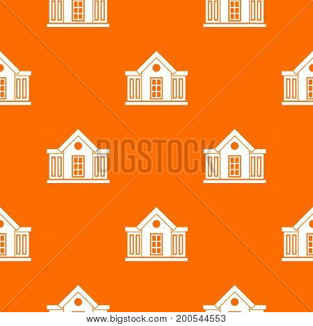 Mansion pattern repeat seamless in orange color for any design. Vector geometric illustration