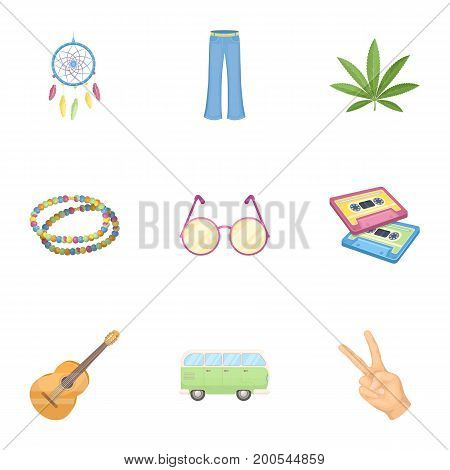 Bird, hemp, leaf and other hippy equipment. Hippy set collection icons in cartoon style vector symbol stock illustration.