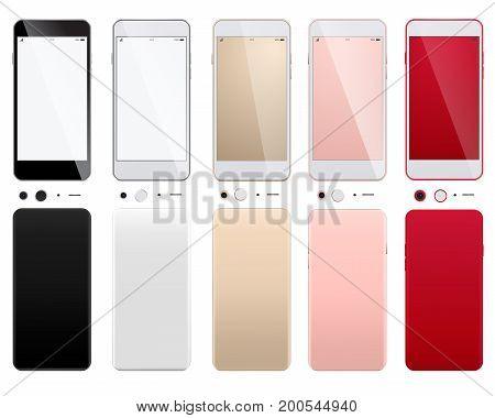 Realistic white smartphone isolated on white background. Mobile phone mockup with blank screen isolated on white background. Set of modern smartphones on a white background with front and back sides