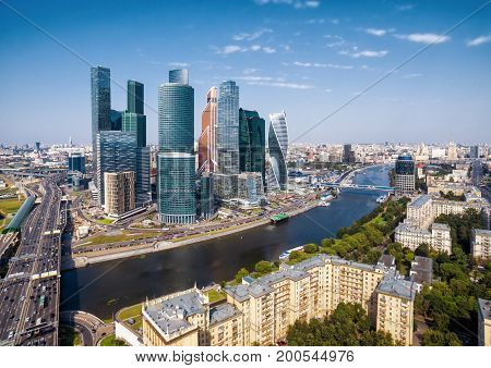 Moscow - August 20, 2017: Aerial view of Moscow-City (Moscow International Business Center) over Moskva River. Moscow-City is a modern commercial district in central Moscow.