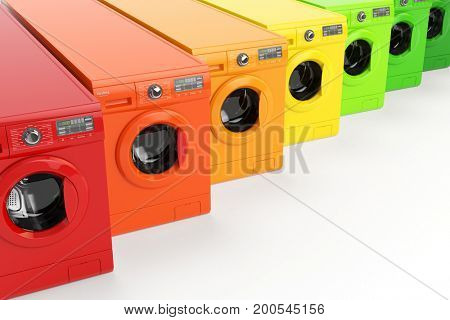Washing machines certified in energetic classes of energy efficiency isolated on white background. 3d illustration