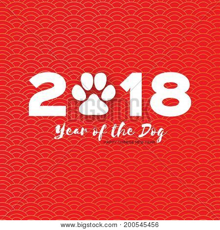 2018 Chinese year of the Dog. Happy Chinese New Year Greeting Card. Paper cut Dog Paw. Place for text. Red background. Circle pattern .Vector