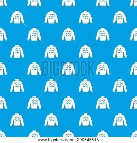 Pullover pattern repeat seamless in blue color for any design. Vector geometric illustration