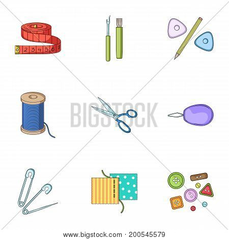 Machine, sewing, scissors and other sewing equipment. Medical, medicine set collection icons in cartoon style vector symbol stock illustration.
