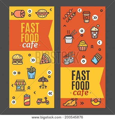 Fastfood and Street Food Flyer Banner Posters Card Set Elements Cafe for Web and App Design. Vector illustration of two banners