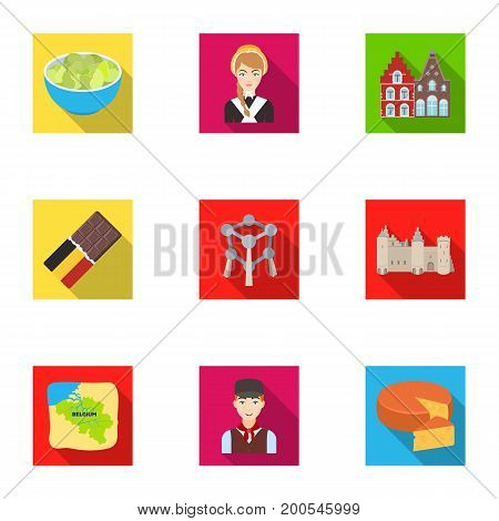 National, flag, clothing and other Belgium attributes .Belgium set collection icons in flat style vector symbol stock illustration.