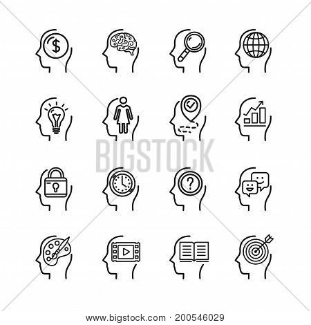 Symbol Human Mind Black Thin Line Icon Set for Web and App Include of profile head person. Vector illustration
