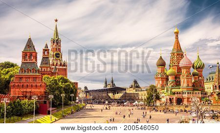 Kremlin and Cathedral of St. Basil in the Red Square in Moscow, Russia. The Red Square is the main tourist attraction of Moscow.