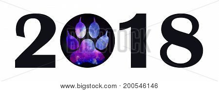 Black Inscription 2018 With A Paw With A Space Pattern. Canine Paw Print In Black Circle