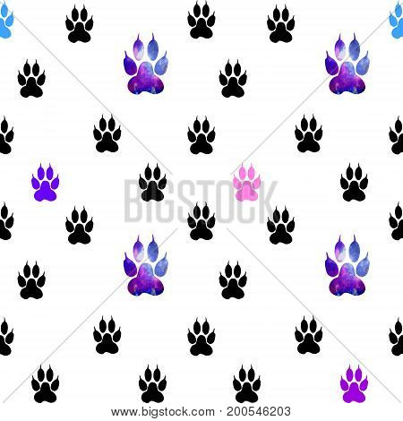 Seamless Pattern With Black Paws On A White Background. Paw With A Space Pattern.