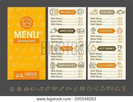 Menu Restaurant Design Template Fast Service Delivery Food and Line Icon Set. Vector illustration of Three page menus