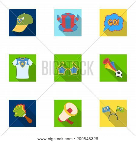 Cap, scoreboard, whistle and other fans equipment. Fans set collection icons in flat style vector symbol stock illustration.