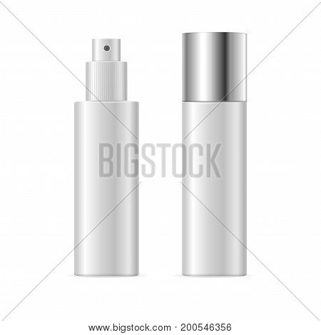 Realistic Template Blank White Spray Cosmetic Tube Isolated Hygiene and Beauty Concept Product. Vector illustration of two bottles view